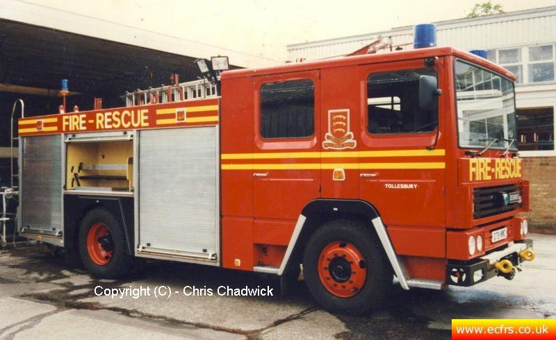 Essex FRS Dennis RS G78 WWC at the ECFRS Workshops - picture courtesy of Chris Chadwick
