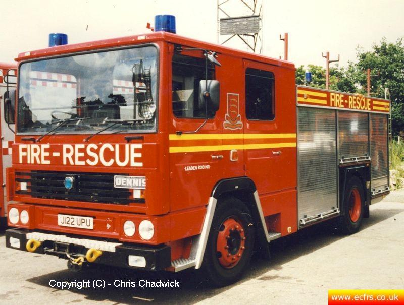 Essex FRS Dennis RS J122 UPU at the ECFRS Workshops - Picture courtesy of Chris Chadwick