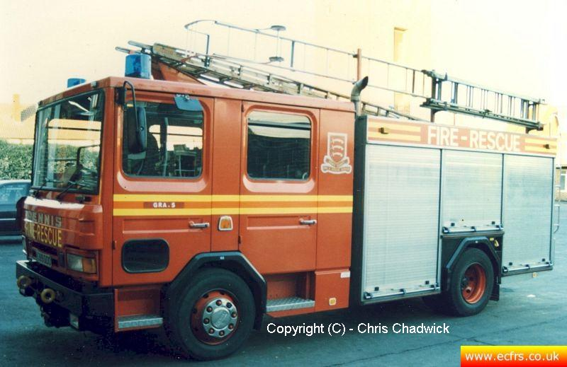 Essex FRS Dennis Rapier K389 DOO at Grays Fire Station - Picture courtesy of Chris Chadwick