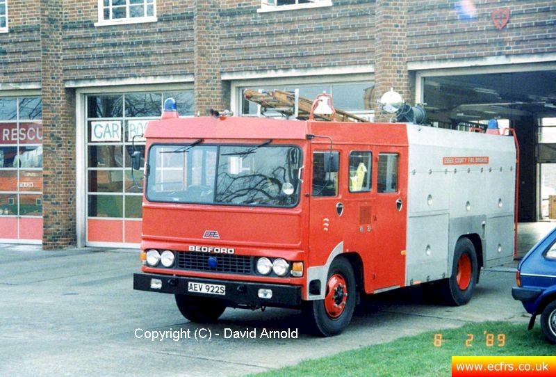 Essex FB Bedford TKG AEV 922S on the 8th of February 1989 at Colchester Fire Station - Picture courtesy of David Arnold