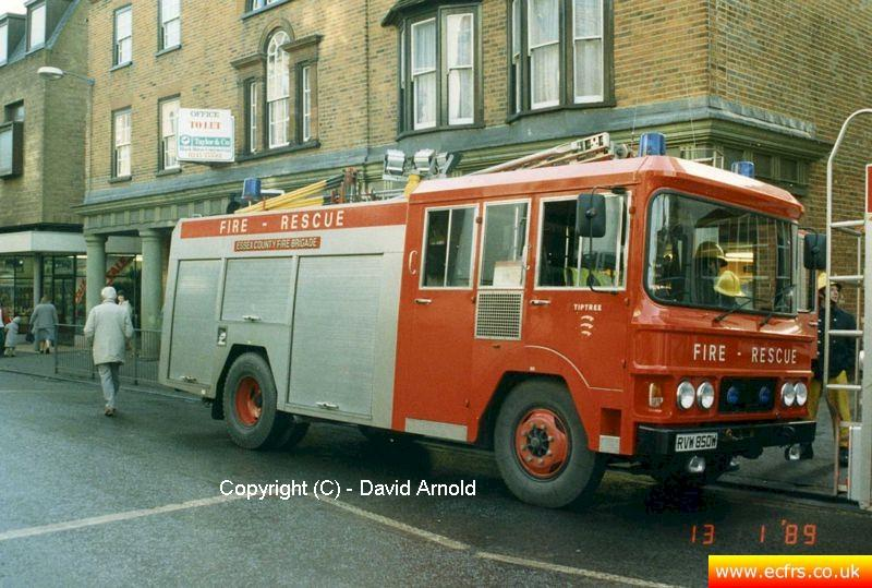Essex FB Bedford TKG RVW 850W on the 13th of January 1989 at in incident in Maldon - Picture courtesy of David Arnold