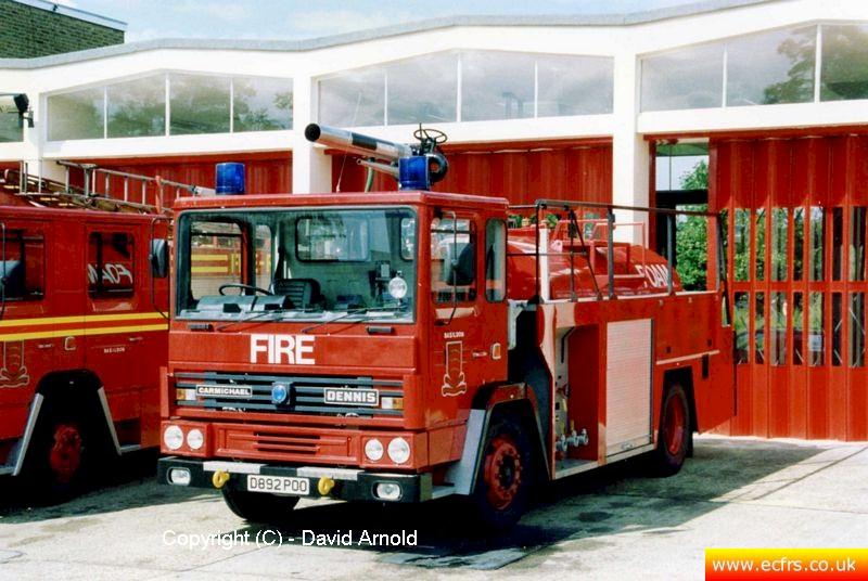 Essex FB Dennis DF D892 POO Basildon Fire Station - Picture courtesy of David Arnold