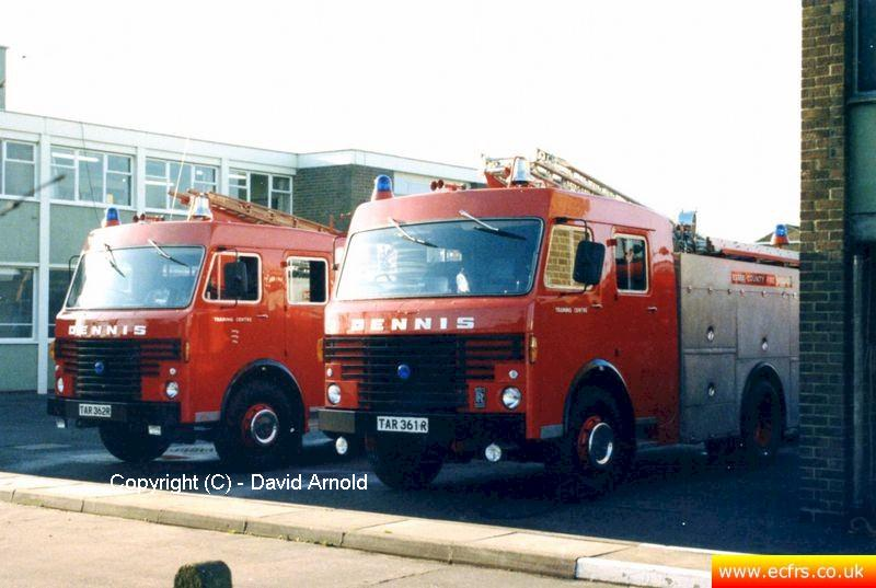 Essex FB Dennis R61 TAR 362R at Witham Fire Station - Picture courtesy of David Arnold