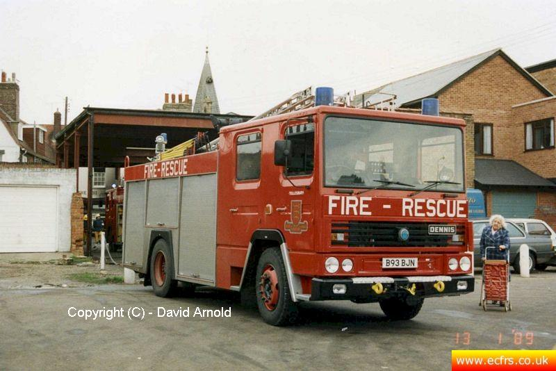 Essex FB Dennis RS B93 BJN on the 13th of January 1989 at an incident in Maldon - Picture courtesy of David Arnold