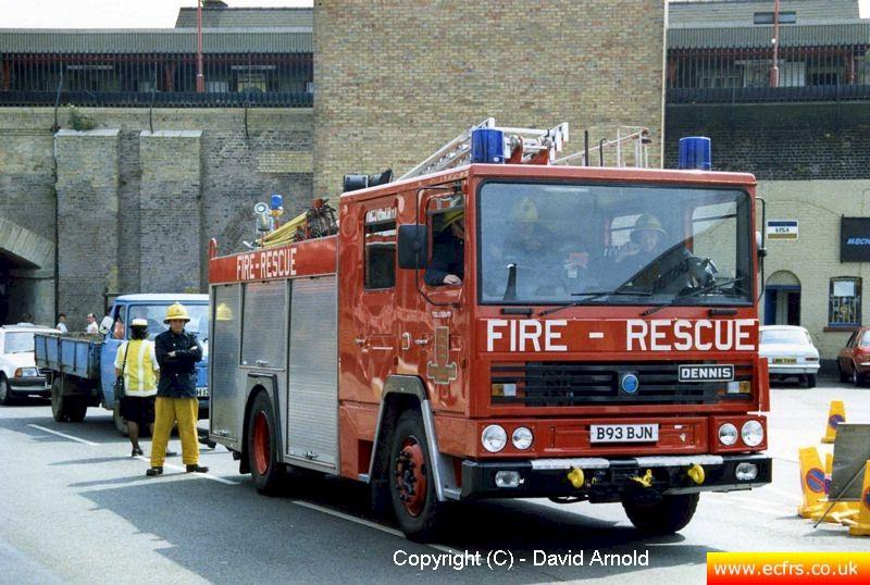 Essex FB Dennis RS B93 BJN at an incident in Chelmsford - Picture courtesy of David Arnold