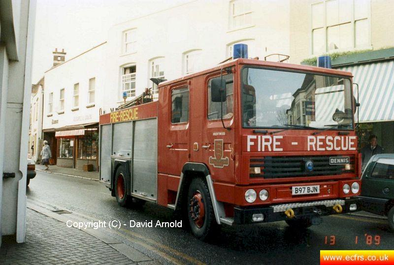 Essex FB Dennis RS B97 BJN on the 13th of January 1989 at an incident in Maldon - Picture courtesy of David Arnold