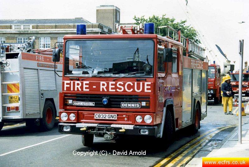 Essex FB Dennis RS C832 GNO at an incident in Chelmsford - Picture courtesy of David Arnold