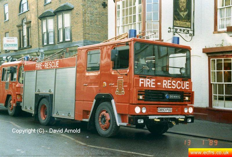 Essex FB Dennis RS D893 POO on the 13th of January 1989 at an incident in Maldon - Picture courtesy of David Arnold