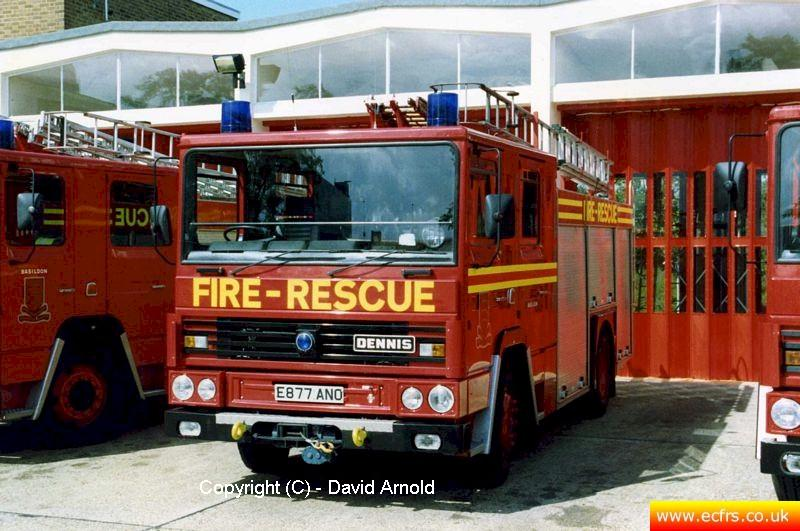 Essex FB Dennis RS E887 ANO at Basildon Fire Station - Picture courtesy of David Arnold