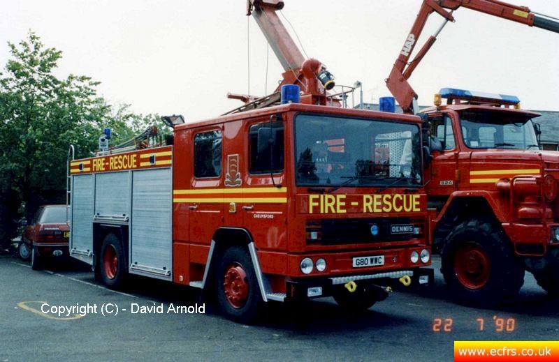 Essex FB Dennis RS G80 WWC at Chelmsford Fire Station on the 22nd of July 1990 - Picture courtesy of David Arnold