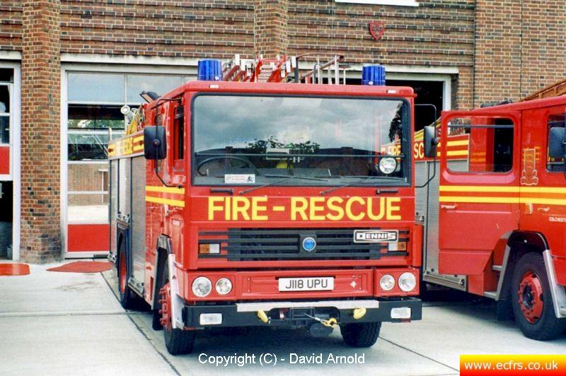 Essex FB Dennis RS J118 UPU at Colchester Fire Station - Picture courtesy of David Arnold