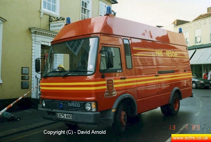Essex FB Iveco 60.10 E875 ANO on the 13th of January 1989 at an incident in Maldon - Picture courtesy of David Arnold