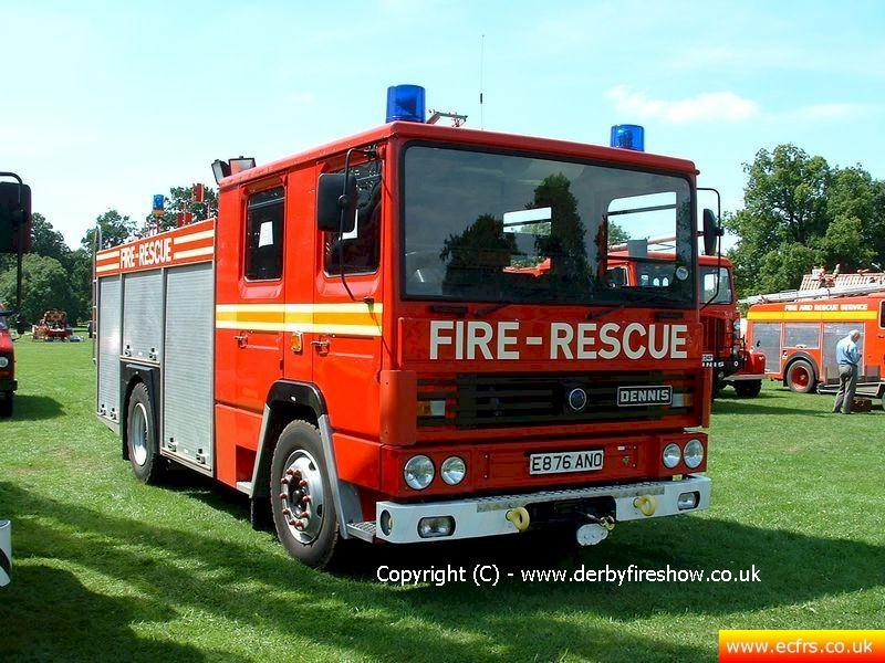 Essex FRS Dennis RS E876 ANO on the 2nd of August 2003 at the Derby Fire Show - Picture courtesy of John at derbyfireshow.co.uk