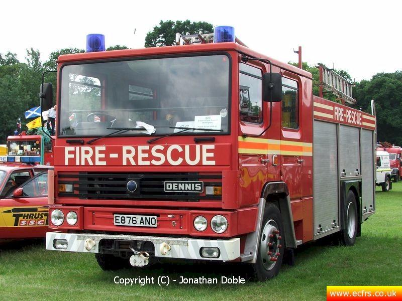 Essex FRS Dennis RS E876 ANO on the 17th of June 2007 at the Derby Fire Show - Picture courtesy of Jonathan Doble