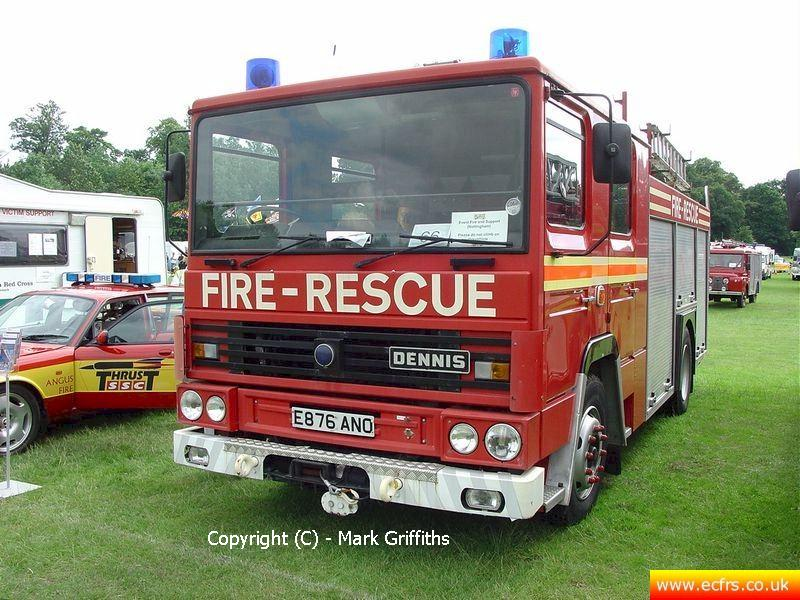 Essex FRS Dennis RS E876 ANO on the 17th of June 2007 at the Derby Fire Show - Picture courtesy of Mark Griffiths