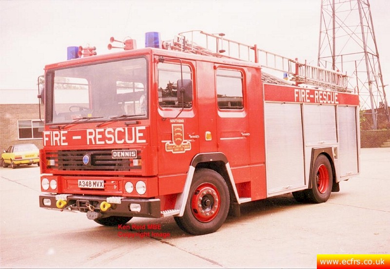 Essex FRS Dennis RS A348 MVX at Southend Fire Station - Picture courtesy of Ken Reid MBE