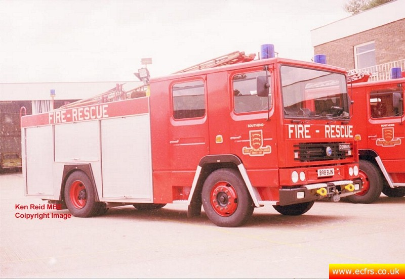 Essex FRS Dennis RS B98 BJN at Southend Fire Station - Picture courtesy of Ken Reid