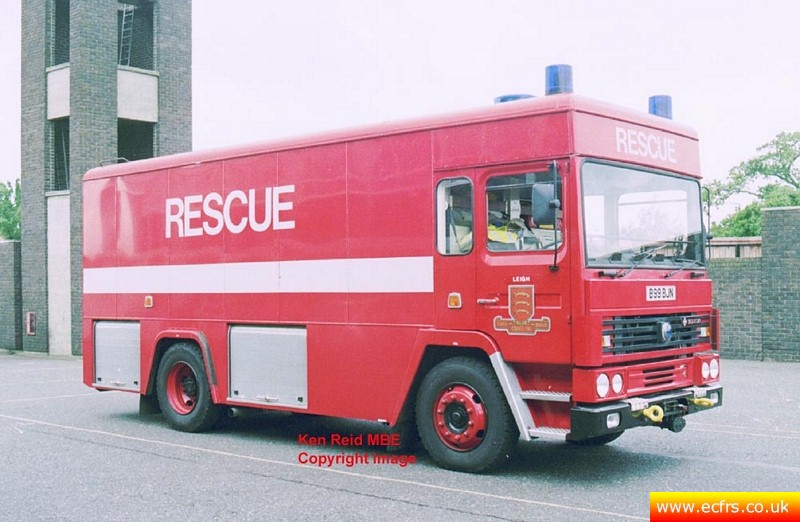 Essex FRS Dennis SS B99 BJN at Leigh Fire Station - Picture courtesy of Ken Reid MBE