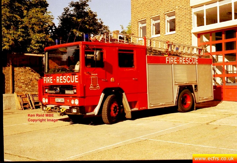 Essex FRS Dennis RS C837 GNO at Ongar Fire Station - Picture courtesy of Ken Reid MBE
