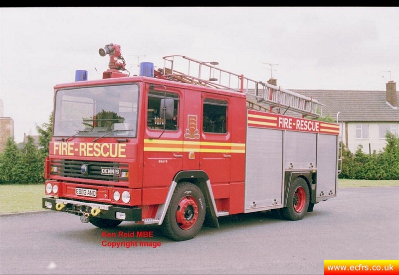 Essex FRS Dennis RS at Grays Fire Station - Picture courtesy of Ken Reid MBE