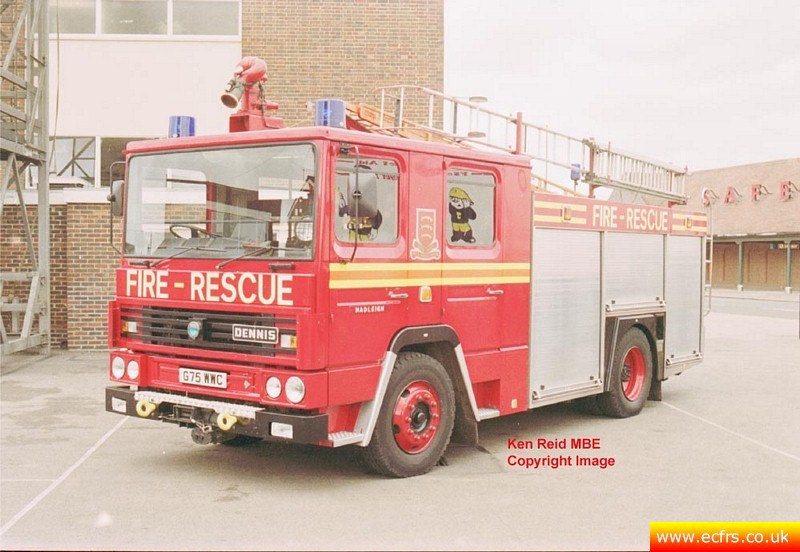 Essex FRS Dennis RS G75 WWC at Hadleigh Fire Station - Picture courtesy of Ken Reid MBE