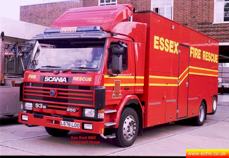 Essex FRS Scania 93M 250 L676 LOO at Colchester Fire Station - Picture courtesy of Ken Reid MBE