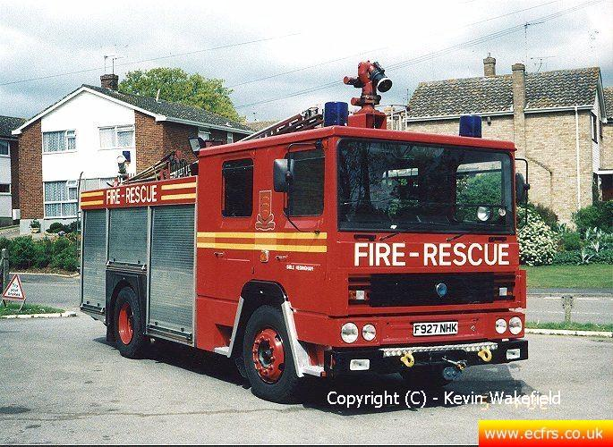Essex FRS Dennis RS F927 NHK at Sible Hedingham Fire Station - Picture courtesy of Kevin Wakefield