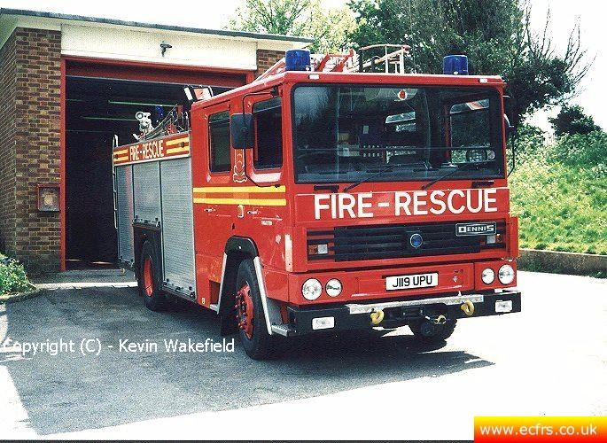 Essex FRS Dennis RS J119 UPU at Thaxted Fire Station - Picture courtesy of Kevin Wakefield