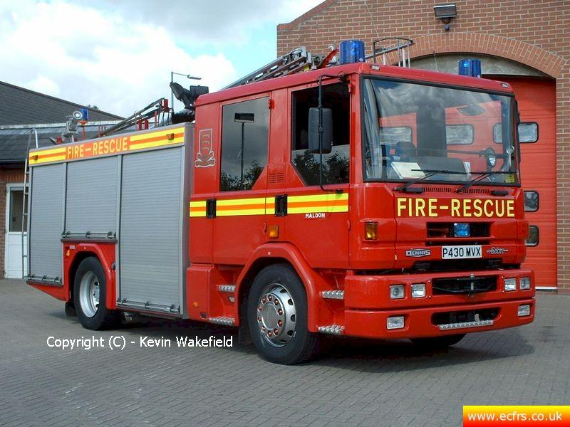 Essex FRS Dennis Sabre P430 MVX on the 7th of August 2005 at Maldon Fire Station - Picture courtesy of Kevin Wakefied