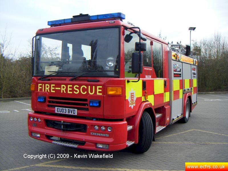 Essex FRS Dennis Sabre XL EU03 BVD on the 24th of March 2009 at Maldon Fire Station - Picture courtesy of Kevin Wakefield