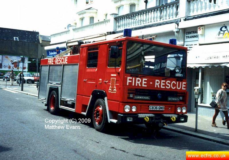 Essex FRS Dennis RS C836 GNO on the 7th of June 1995 at the Southend Pier fire - Picture courtesy of Matthew Evans