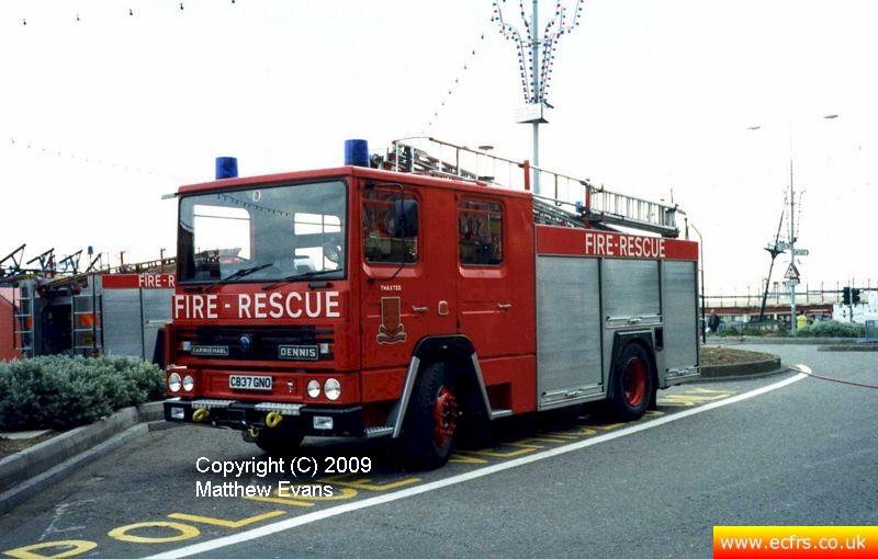 Essex FRS Dennis RS C837 GNO on the 7th of June 1995 at the Southend Pier fire - Picture courtesy of Matthew Evans