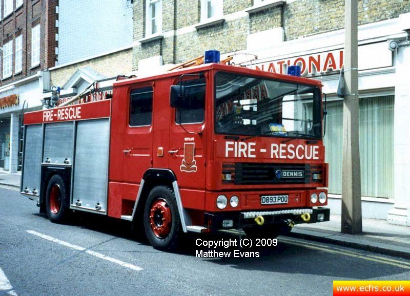 Essex FRS Dennis RS D893 POO on the 7th of June 1995 at the Southend Pier fire - picture courtesy of Matthew Evans