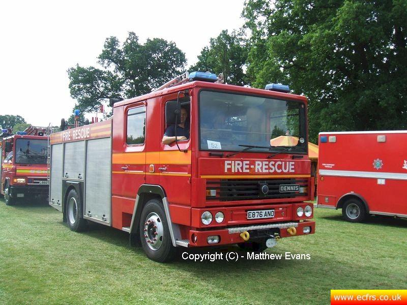Essex FRS Dennis RS E876 ANO on the 14th of June 2008 at the Derby Fire Show - picture courtesy of Matthew Evans