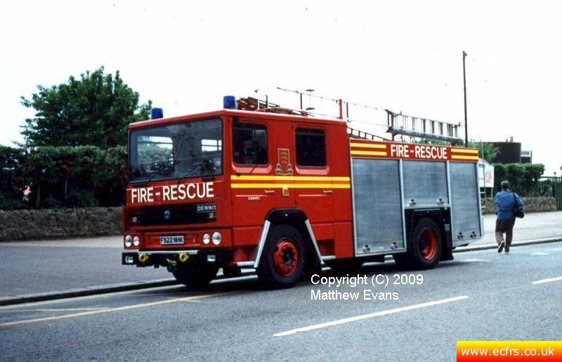 Essex FRS Dennis RS F922 NHK on the 7th of June 1995 at the Southend Pier fire - Picture courtesy of Matthew Evans