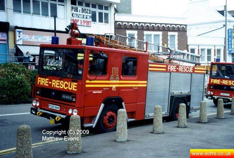 Essex FRS Dennis RS F925 NHK on the 7th of June 1995 at the Southend Pier fire - Picture courtesy of Matthew Evans