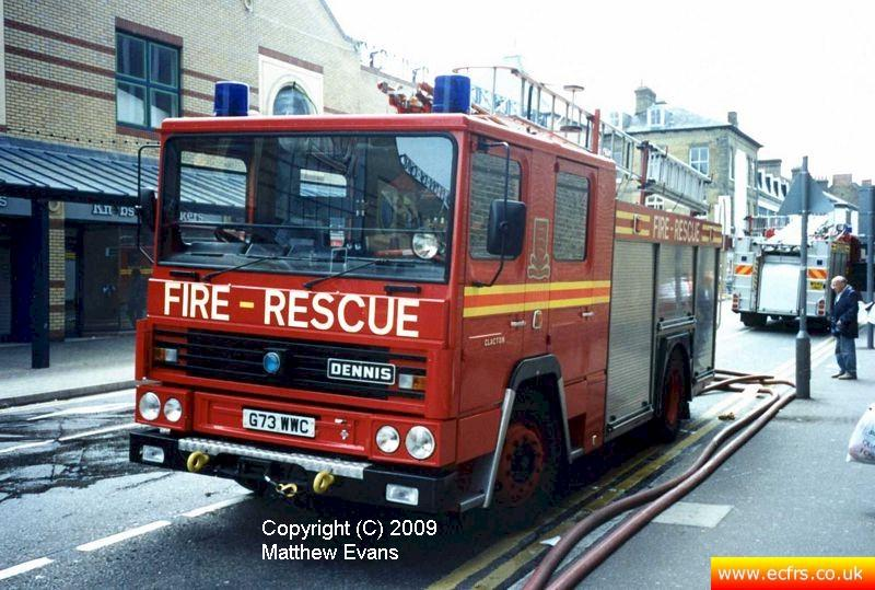 Essex FRS Dennis RS G73 WWC on the 7th of June 1995 at the Southend Pier fire - Picture courtesy of Matthew Evans