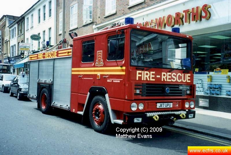 Essex FRS Dennis RS J117 UPU on the 7th of June 1995 at the Southend Pier fire - Picture courtesy of Matthew Evans