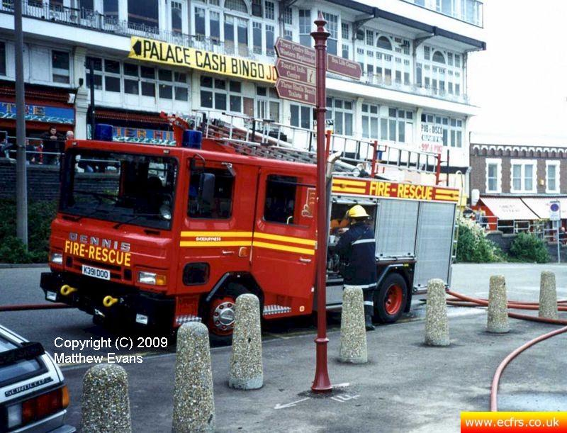 Essex FRS Dennis Rapier K391 DOO on the 7th of June 1995 at the Southend Pier Fire - Picture courtesy of Matthew Evans