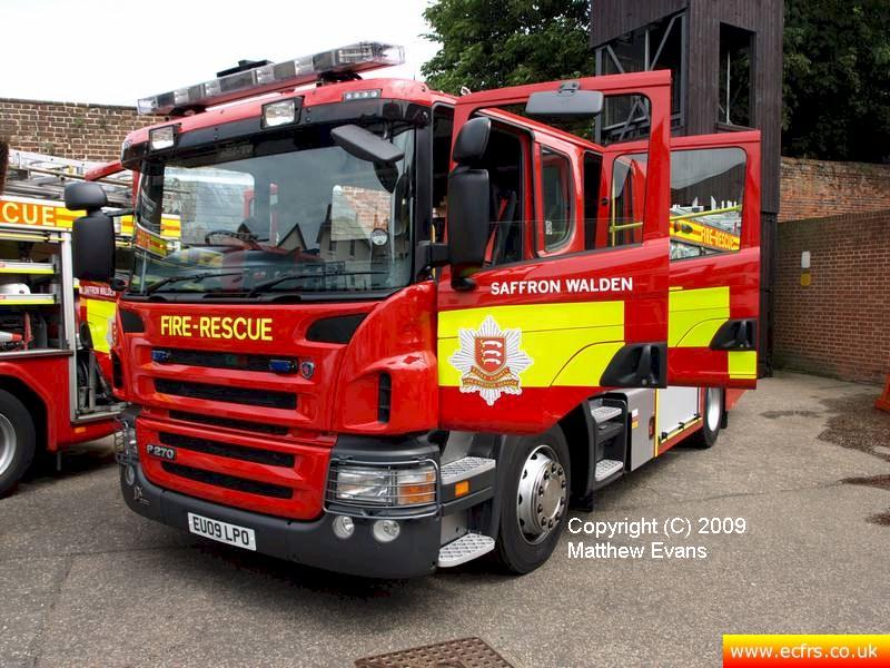 Essex FRS Scania P270 EU09 LPO on the 4th of July 2009 Saffron Walden - Photo courtesy of Matthew Evans
