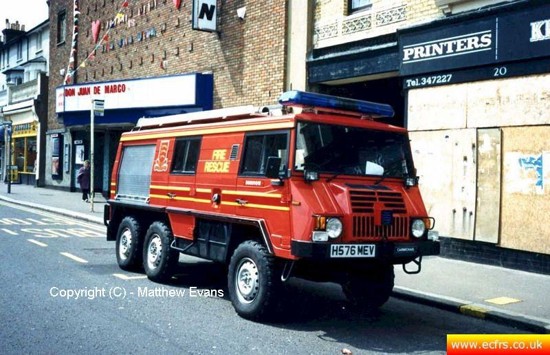 Essex FRS Steyr Pinzgauer H576 MEV on the 7th of June 1995 at the Southend Pier fire - Picture courtesy of Matthew Evans