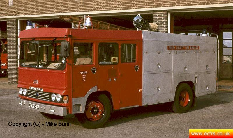 Essex FB Bedford TKG AEV 922S at Grays Fire Station - Picture courtesy of Mike Bunn