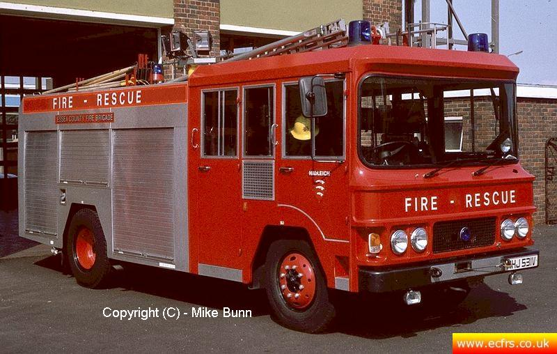 Essex FB Bedford TKG MHJ 531V at Hadleigh Fire Station - Picture courtesy of Mike Bunn
