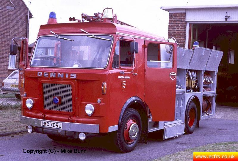 Essex FB Dennis DJ LWC 709J at Leaden Roding Fire Station - Picture courtesy of Mike Bunn