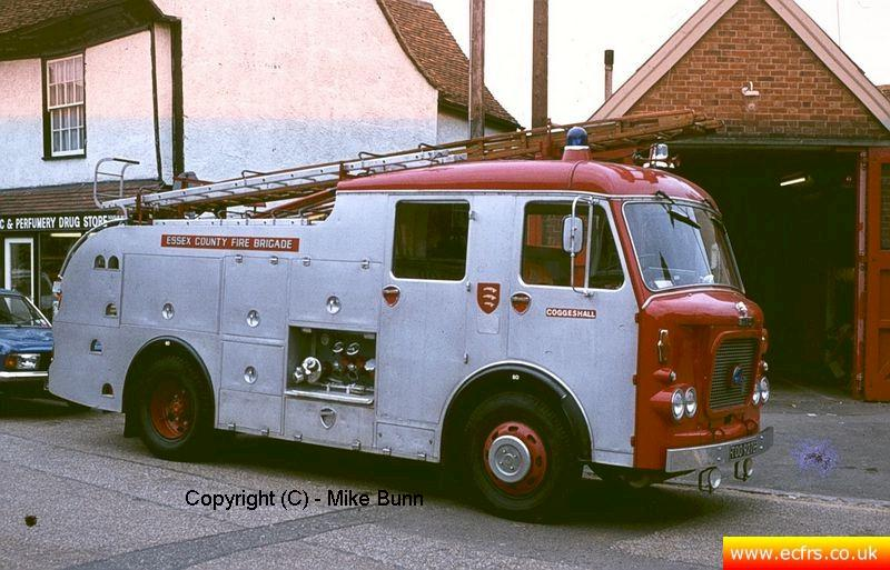 Essex FB Dennis F38 TOO 927E at the old Coggeshall Fire Station - Picture courtesy of Mike Bunn