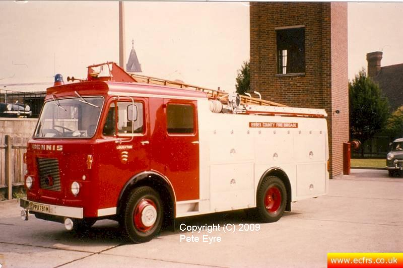 Essex FB Dennis DJ PPU 781M at Loughton Fire Station - Picture courtesy of ECFRS Museum & Pete Eyre