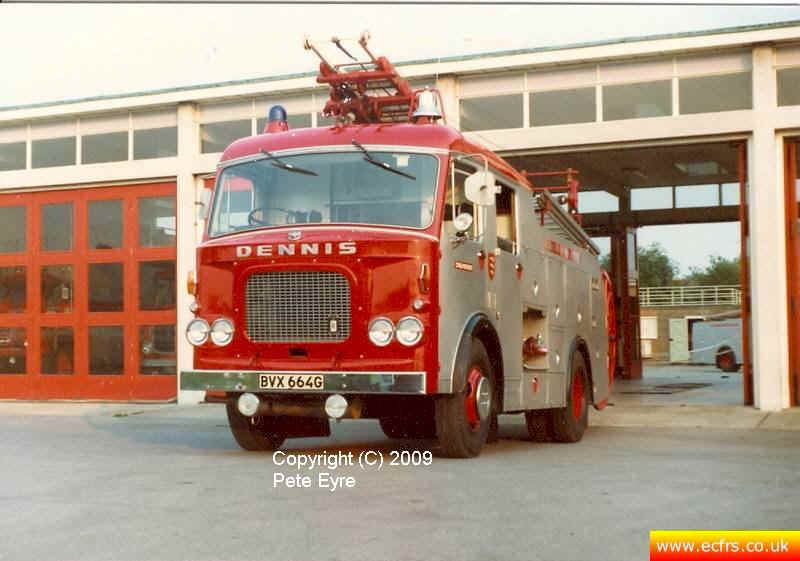 Essex FB Dennis F38 BVW 664G at Chelmsford Fire Station - Picture courtesy of ECFRS Museum & Pete Eyre
