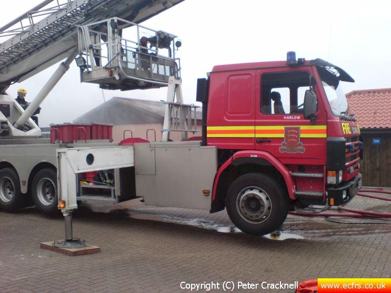 Essex FRS Scania 113H 320 N503 GJN on the 27th of April 2007 at an incident in Harlow - Picture courtesy of Peter Cracknell