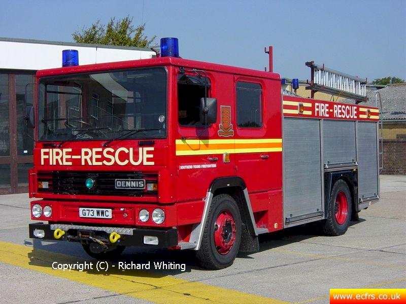 Essex FRS Dennis RS G73 WWC on the 7th of August 2004 at Southend Fire Station - Picture courtesy of Richard Whiting