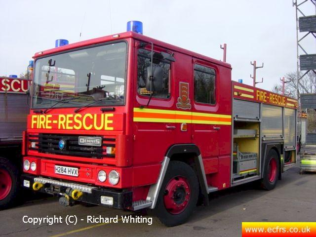 Essex FRS Dennis RS H284 HVX on the 19th of November 2003 at the ECFRS Workshops - Picture courtesy of Richard Whiting
